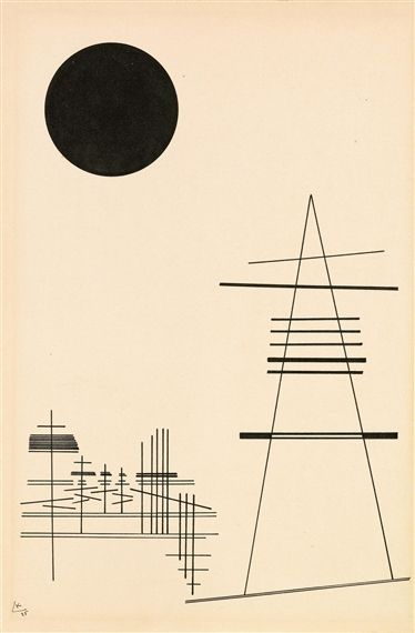 Artwork by Wassily Kandinsky, Zeichnung für Punkt und Linie zu Fläche (Drawing for point and line to surface), Made of Indian ink on paper mounted on cardboard