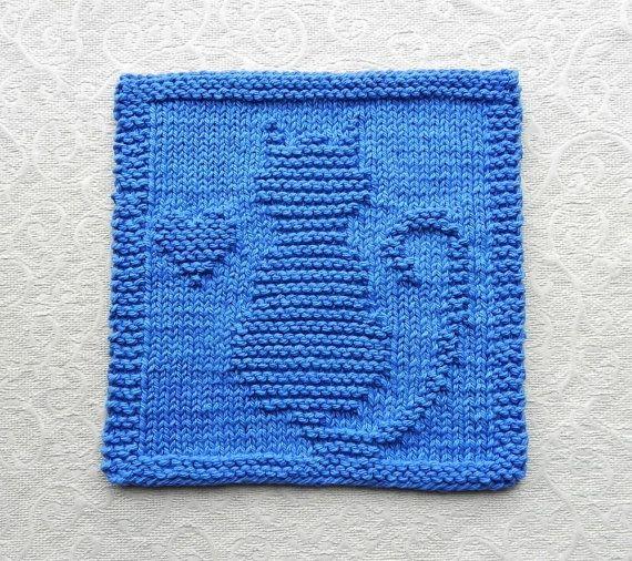 CAT / KITTEN / HEART Knit Dishcloth . Hand Knitted Unique Design . Medium Blue Cotton Dish Cloth / Wash Cloth . Hostess Gift