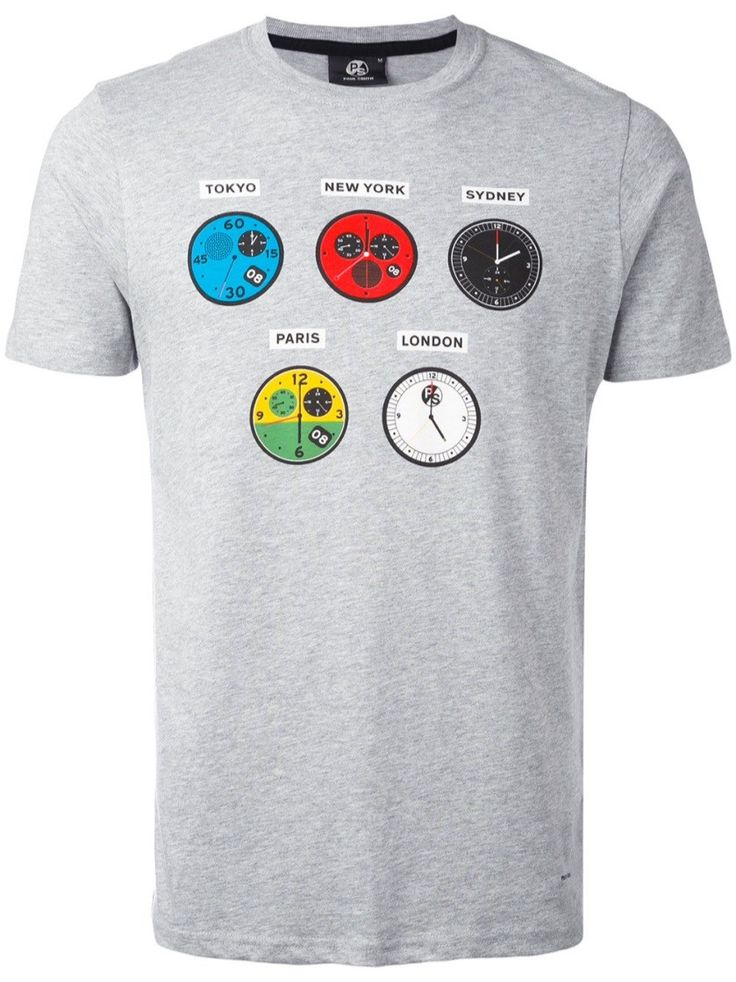PS BY PAUL SMITH 'Watches' Grey Cotton T-Shirt. #psbypaulsmith #cloth #t-shirt
