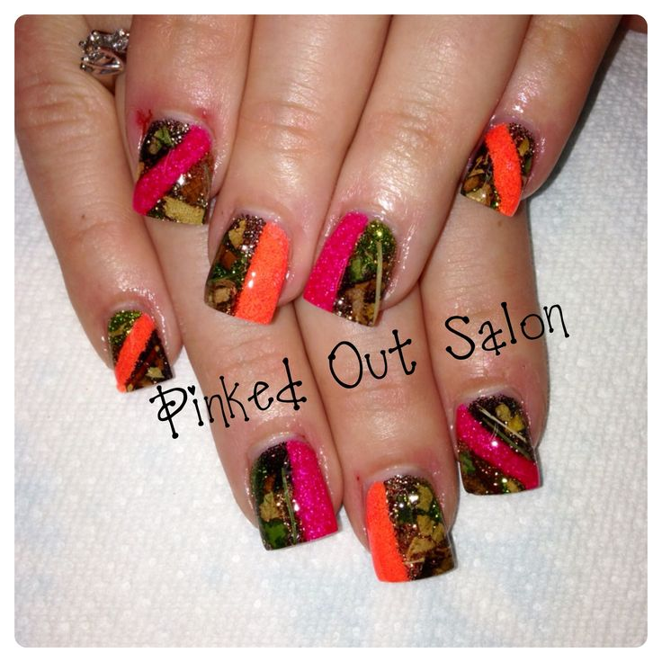 Real camo with leaves, sticks, bark and grass!  Visit Pinked Out Salon on FB!
