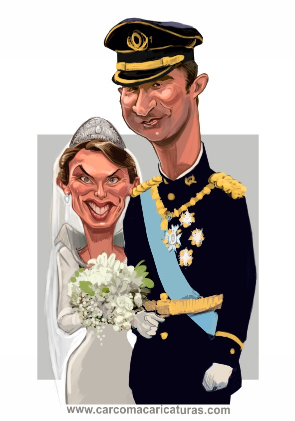 #carcoma #caricatura.  #boda Letizia & Felipe de Borbon