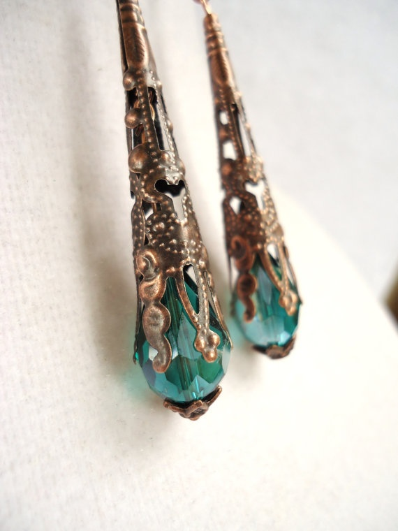"Beautiful french victorian style copper filigree earrings! They are 52mm or 2"" long, with stunning 15x10mm deep teal crystal briolettes. Gorgeous and feminine earrings! MEMBERS - Viper Corara Designs"