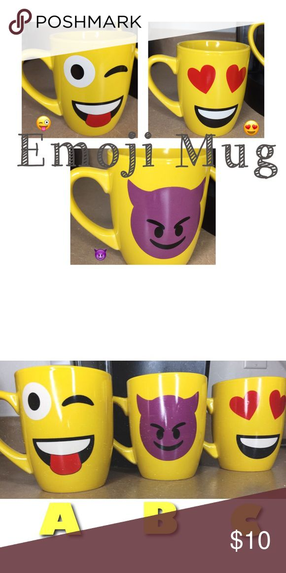 """SALEEMOJI MUGS THIS IS FOR O N E MUG. - 11 oz. Of pure greatness! *BRAND NEW* Weather its my morning coffee or just a cup of juice? These Ceramic Moji Mugs are Perfect and very much so unique! Say NO to the plain """"white mug"""" and spruce it up with a Sunny Yellow - Great Gift for (Him & Her) - Pick A, B, or C - About the Mug: *Ceramic * Standard 11 oz * Hot & Cold Beverages * One Sided design * Handle with Care * Be gentle to not over scrub the emoji pattern emoji Other"""