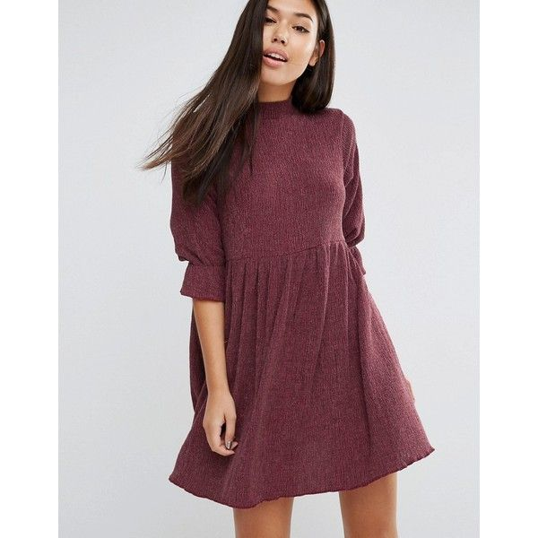 ASOS Smock Dress in Textured Fabric found on Polyvore featuring polyvore, women's fashion, clothing, dresses, red, zip dress, loose fit dress, tall dresses, high neckline dress and loose fitting dresses