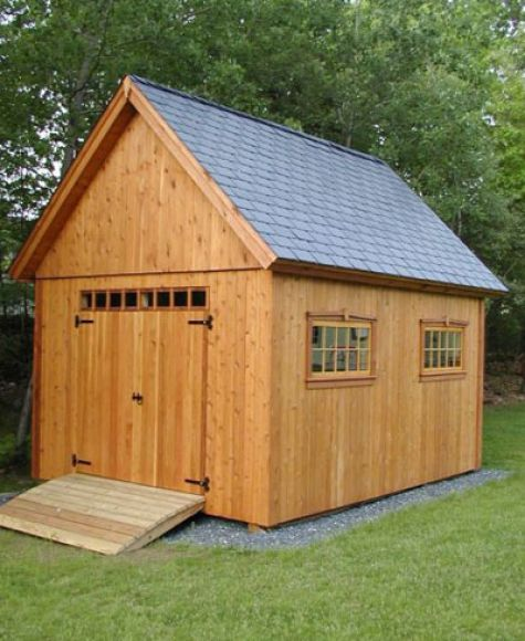 Cedar shed for a mower