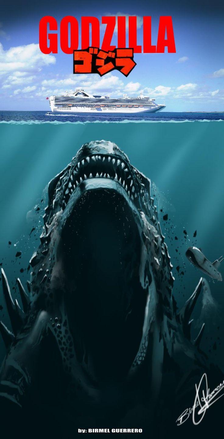Godzilla - jaws poster by Birmelini.deviantart.com on @deviantART