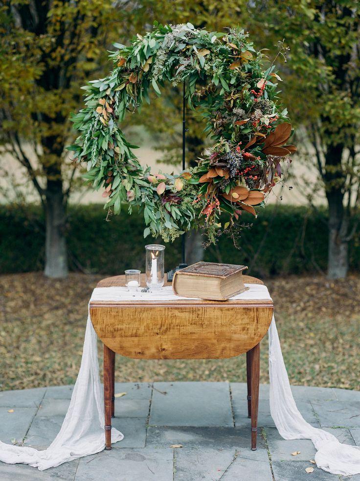 fall wedding ceremony ideas - photo by Lissa Ryan Photography http://ruffledblog.com/modern-romantic-wedding-ideas-with-family-heirlooms