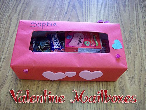 Valentine mailbox made with glove box or tissue box