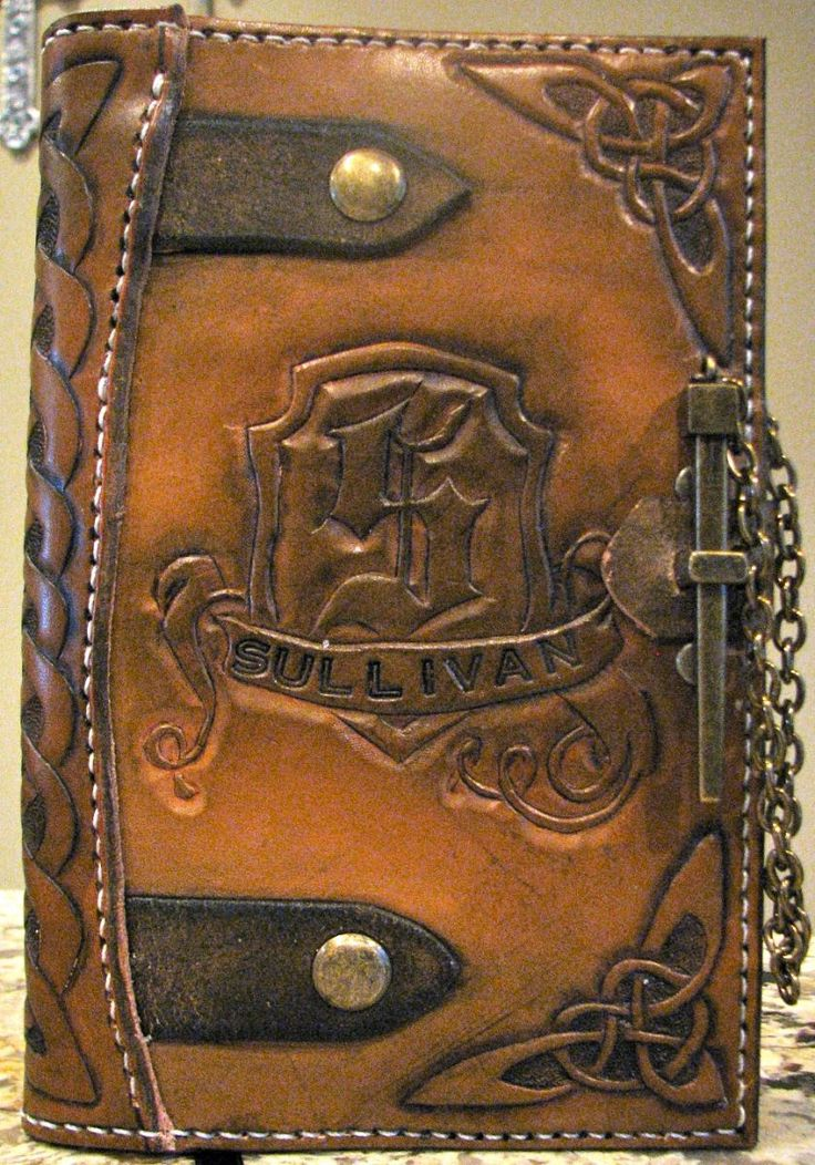 Hand tooled, hand sewn, monogrammed, celtic design, leather book/journal cover