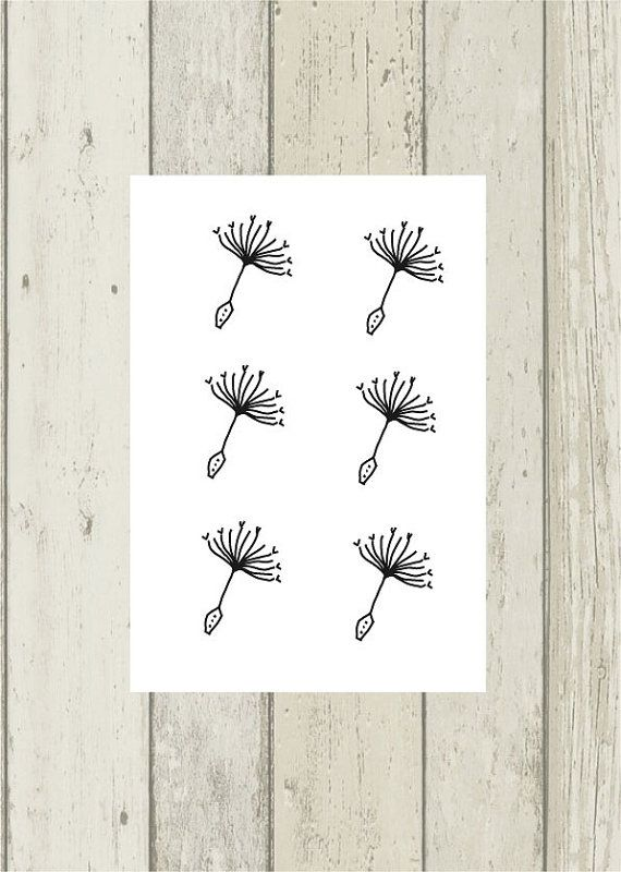 6 tiny dandelion temporary tattoos. Hand- drawing wild flower tattoos in boho style.  Set of 6. 1,5x1 cm (0.7x0.4) each.  Temporary tattoo lasts from 2 to 5 days. Its depends on type skin and where it is placed. It includes tattoo application instructions. Do not apply to broken or allergic to bandages skin. Remove by soaking in hot, soapy water.   Follow me : pinterest.com/encredelicate/