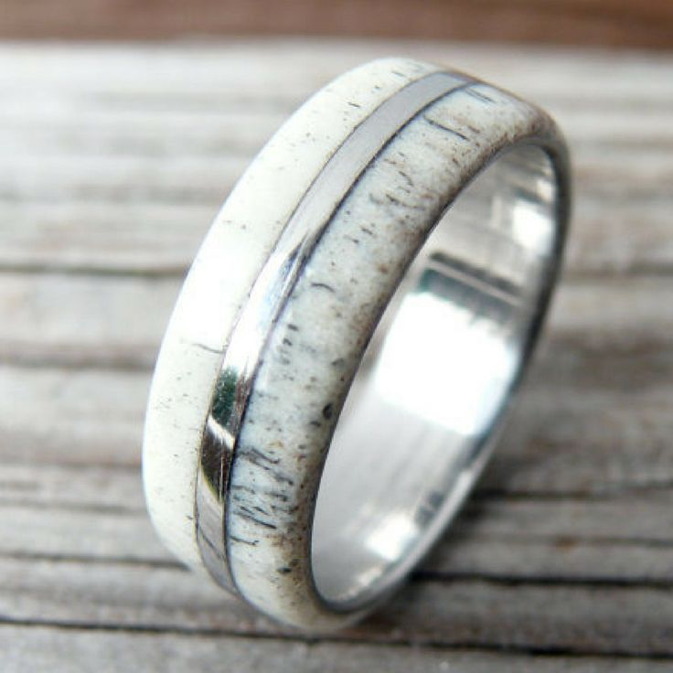Titanium Deer Antler Ring With Titanium Stripe