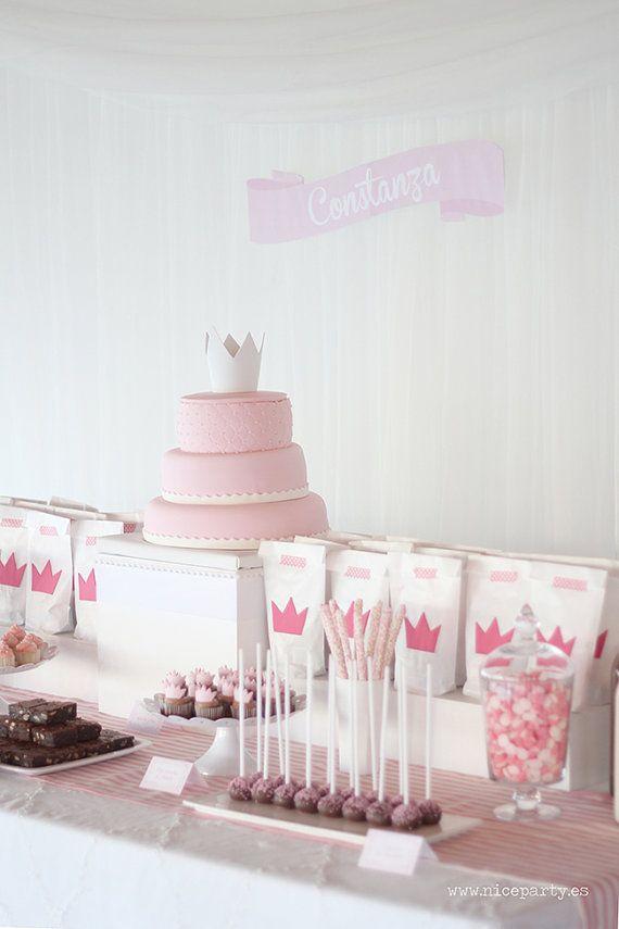 Pack imprimible de fiesta infantil princesas color rosa