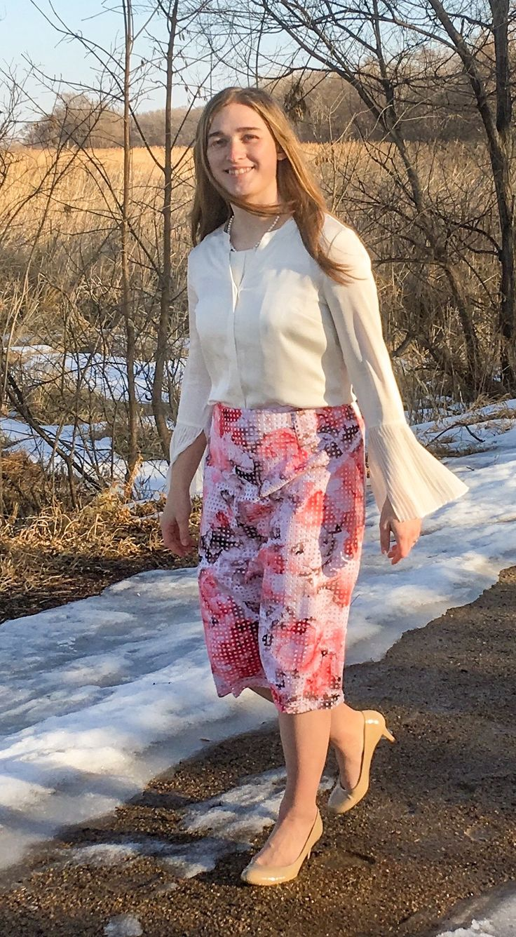 Ivory Chiffon Pleated Bell Sleeves Top, Spring Style, Pink Floral Skirt