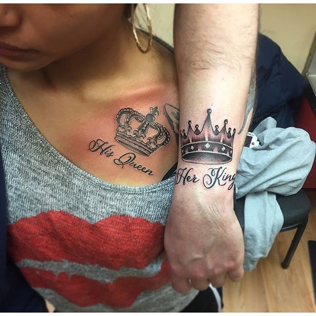 #mulpix His and Hers...  #rocemtattz  #matchingtattoos  #his  #hers  #crowntattoo  #crown  #king  #queen  #tattoo  #ink