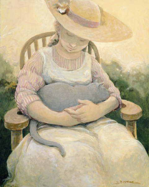 Cat and people paintings. Sandra Biermann - The Gray Cat 1.