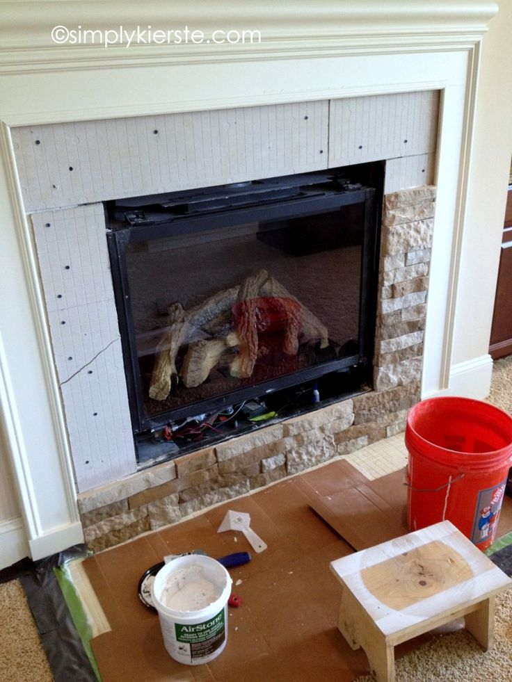 {fireplace makeover using airstone:  before