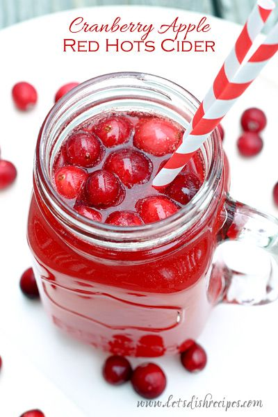 Cranberry Apple Red Hots Cider Recipe | This beautiful holiday cider uses Red Hots candy for the gorgeous red color and a delicious hot cinnamon kick!