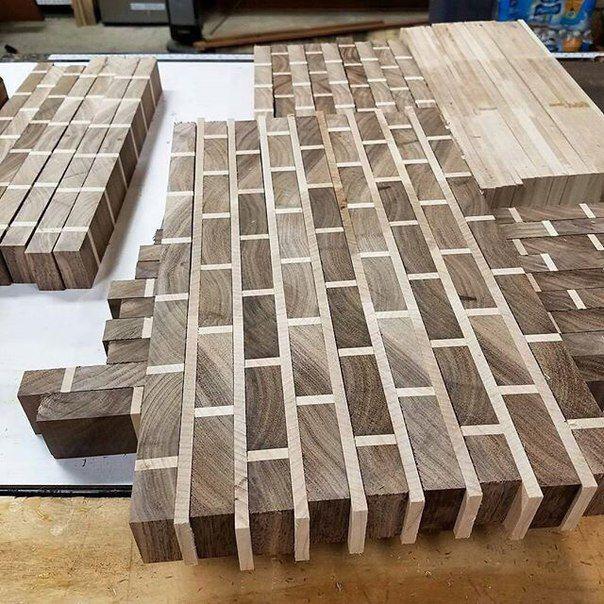 Fake looking brick made from wood.