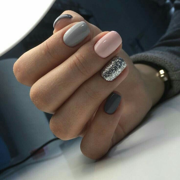 dark grey, light grey, light pink, and silver.