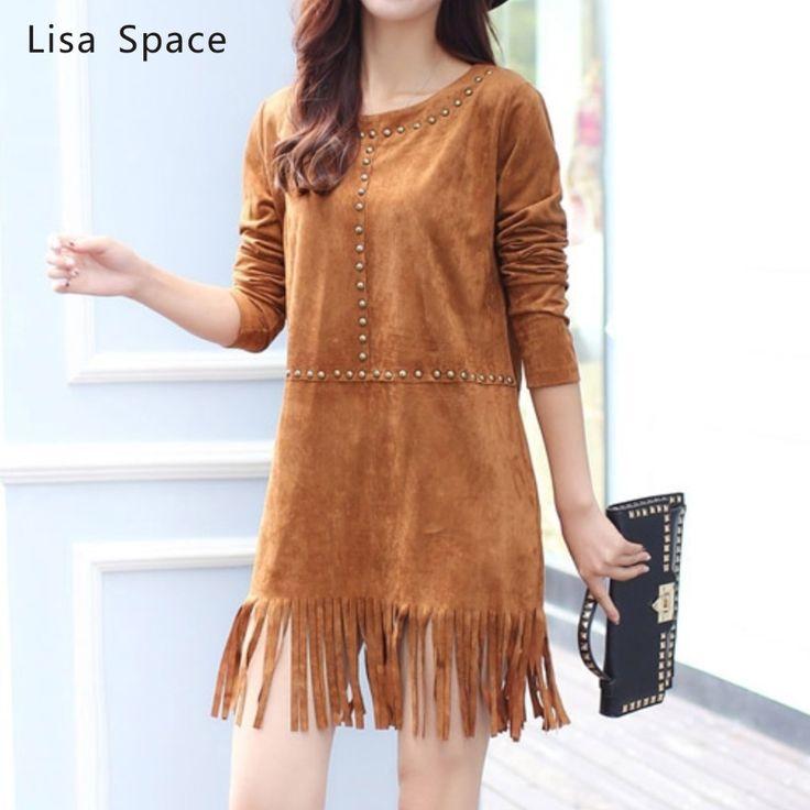 Moda feminina longo - vestido de franjas de mangas alta qualidade 2015 nova outono e inverno longa seção imitação vestido de camurça feminino Q181 alishoppbrasil