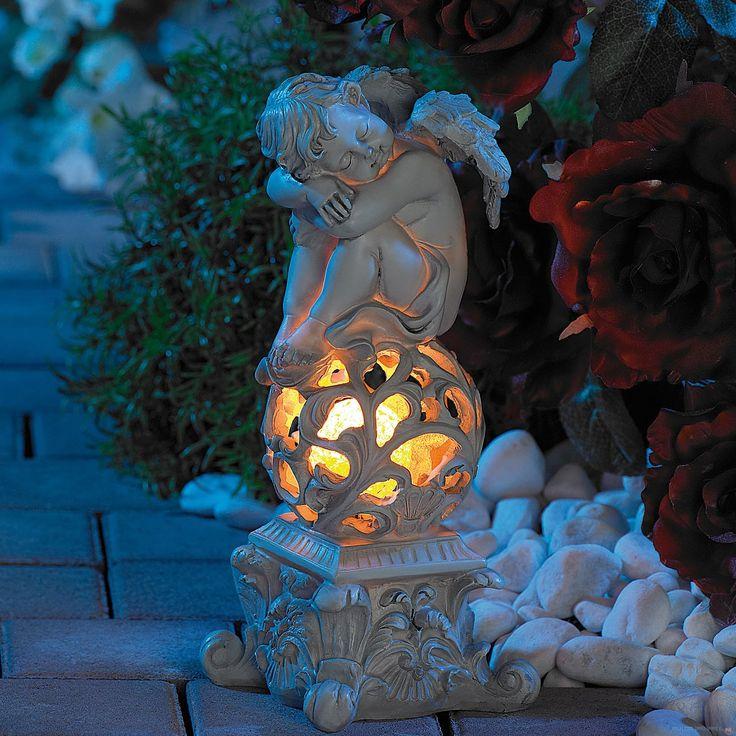 Rzeźba śpiącego anioła ze świecącą kulą! Klimatyczne oświetlenie dla Twojego ogrodu, balkonu lub tarasu.  #rzeźba #dekoracje #dom