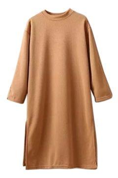 Long Sleeve Split Hem Round Neck Plain Dress