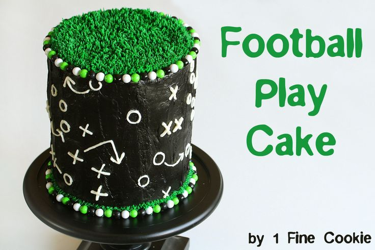 Football cake by 1 Fine Cookie, football, cake, frosting, gameplay, game, cake, field, grass, green, black, white, cake, candy, frosting, covered, decorated, easy, superbowl, 2014, 2015, cupcake, beginners, piping, x, o, x's, o's, sixlets, gumballs,