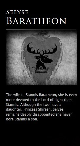 """Selyse Baratheon, unlike her husband she shows little affection to their daughter Shireen, because she is a girl and because Shireen was struck with """"grayscale"""""""