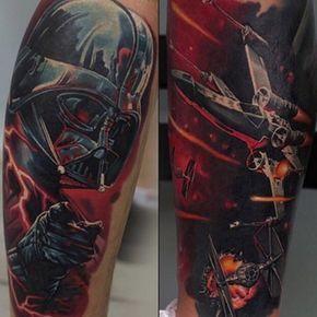 Star Wars sleeve #tattoo. Via tattooartistmagazineblog.com