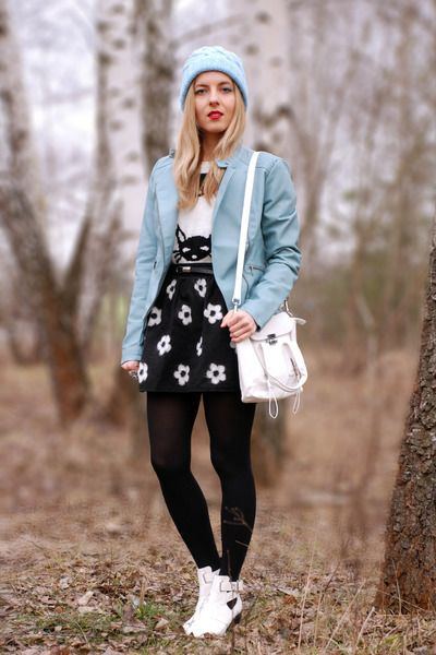 white cut out new look boots - sky blue pastel beanie asos hat