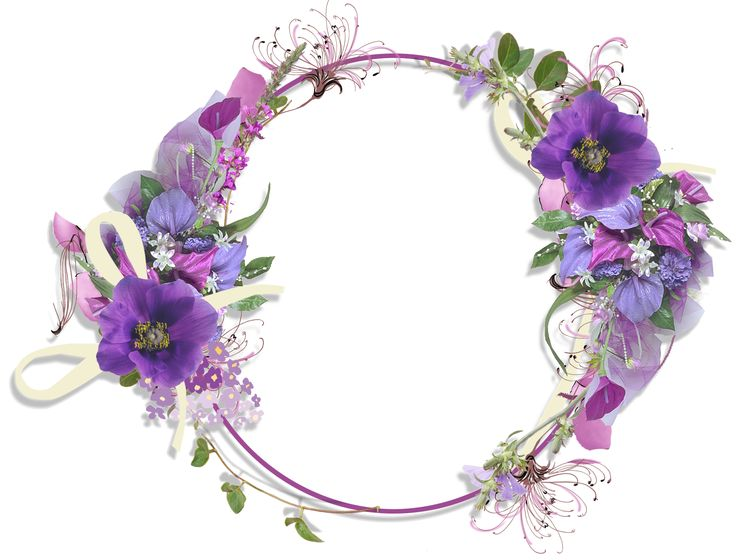 Purple Flower Round Frame