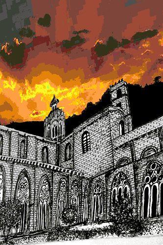 Dibujo del Monasterio de Santa Maria de Pedralbes BCN Aprendiendo sobre la Renaxença catalana.