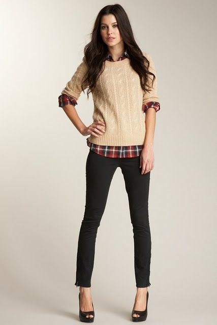 Camel colored sweater with red plaid button up- J. Crew does it best!