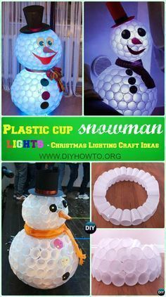 diy plastic cup snowman lights instruction diy christmas lights ideas crafts christmaslights