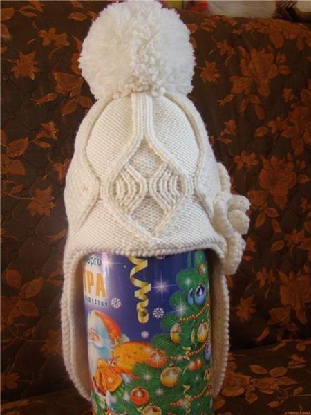 Спицами зимняя шапка детская