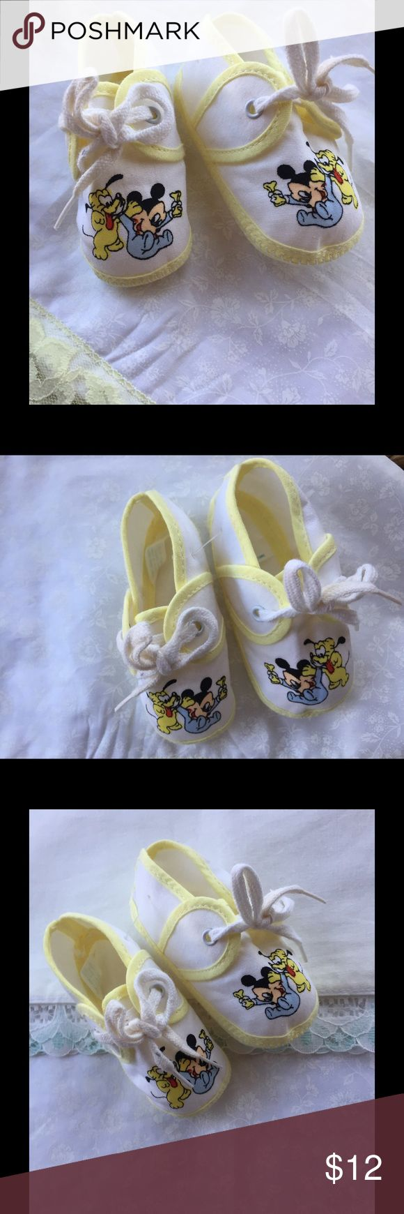 Vintage Mickey & Pluto Baby booties Vintage Mickey Mouse and Pluto Newborn Baby Booties such a cute gift for welcoming Baby home. Vintage Shoes Baby & Walker