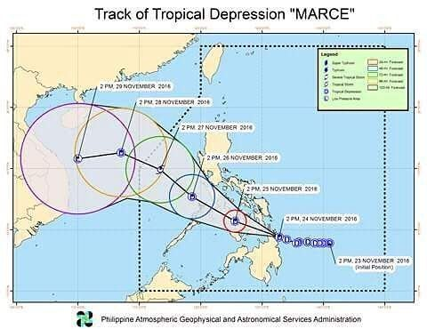 """SEVERE WEATHER BULLETIN #9 FOR: TROPICAL DEPRESSION """"#MarcePH"""" TROPICAL CYCLONE: WARNING  ISSUED AT 5:00 PM 24 November 2016 (Valid for broadcast until the next bulletin to be issued at 8 PM today)  TD """"MARCE"""" IS ABOUT TO MAKE LANDFALL OVER SURIGAO DEL NORTE.  Estimated rainfall amount is from moderate to heavy within the 300 km diameter of the tropical depression.  Residents of areas under TCWS #1 and the rest of easten Visayas are advised to be alert against possible flashfloods and…"""