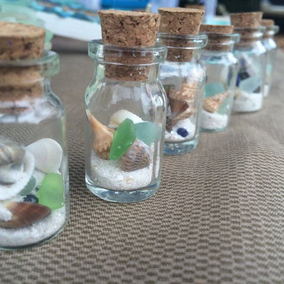 Miniature Beach in a Bottle ~ Mini bottle texas sea glass ~ Florida Sea Shells and Sand ~ Gift for Sister, Bestie ~ Beach lover gift idea