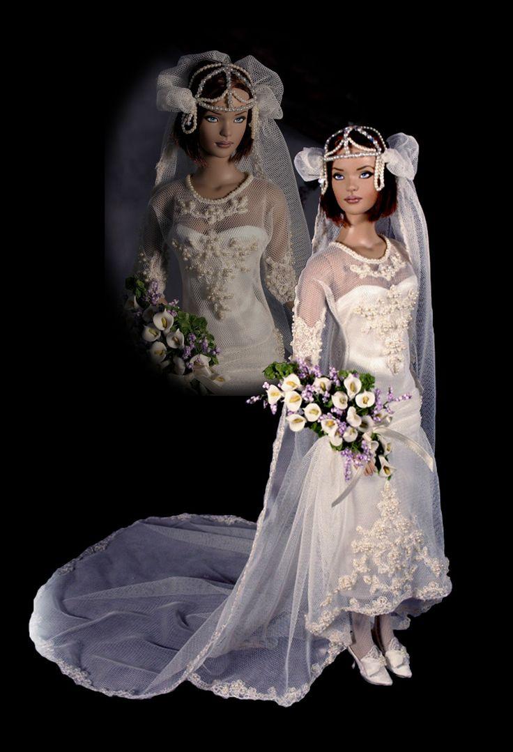 Cindy Friesen's wedding dress in 1920s style.
