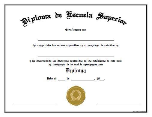 diploma de escuela superior para imprimir gratis  u2026