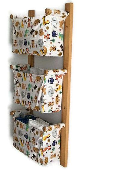 Wall hanging organizer - with 3 box style pockets. Could use these in the bathroom, office area, kid's room, etc. Great idea!