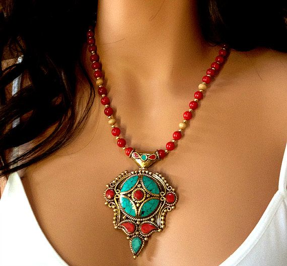 Statement Necklace Nepalese Red Coral Turquoise by ByGerene, $125.00