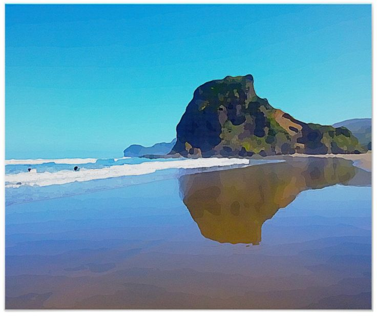 """Lion Rock, Piha, New Zealand. Piha beach is  renown for it's superb surf. It's on  Auckland's """"wild"""" west Coast, just 40  minutes drive from the City.  In the Summer it's a hive of activity for both locals and tourists. Unfortunately you can't climb the rock anymore because of a major slip. (You can see it in the picture.)  I've added a painted filter to the original photograph. Those two black dots are surfers coming out of the water after a session in the waves."""