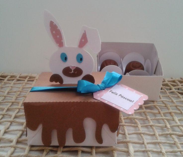 Embalagem decorada com coelhinho da P�scoa. <br>Pode ser vendida vazia ou com os bombons. <br>Consulte.