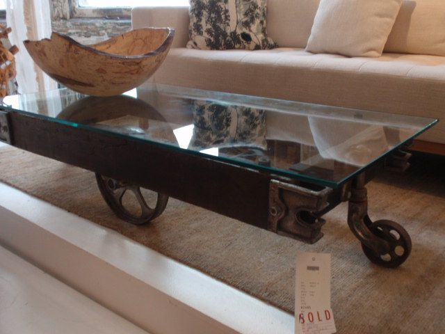Factory Cart Coffee Table With Glass
