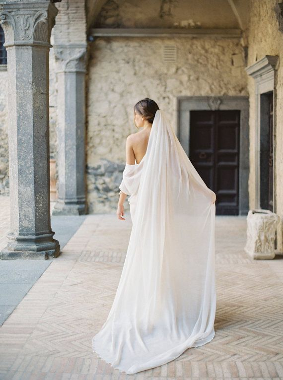Gorgeous And Super Soft Silk Chiffon Veil With A Simple