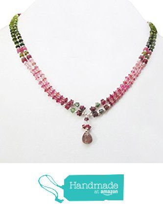 "Natural Pink Tourmaline Pendant Beaded Necklace with 925 Silver Findings 16"" Delicate Handmade Jewelry from anushruti https://www.amazon.com/dp/B01HJSGJP0/ref=hnd_sw_r_pi_dp_7c4hybCKGB4FN #handmadeatamazon"