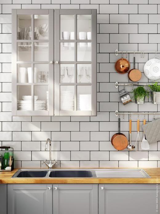 Ikea kitchen, subway tiles, grey grout