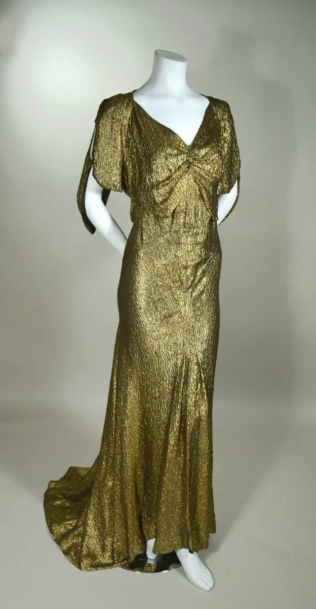 ~Late 1930s metallic gold silk lame bias cut Art Deco evening gown~