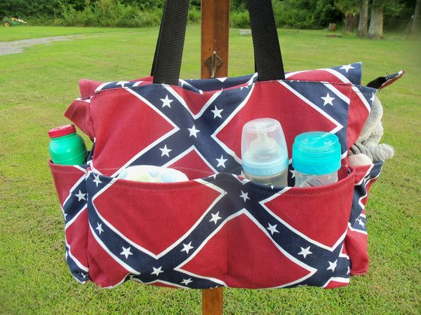 Diaper Bags are hand-made with cordura fabric, waterproof, easy clean up, 4 exterior pockets (2 side pockets for bottles and 2 front pockets for miscellaneous http://minachmittsandbags.com/collections/diaper-bag/products/diaper-bag-rebel-flag-stars